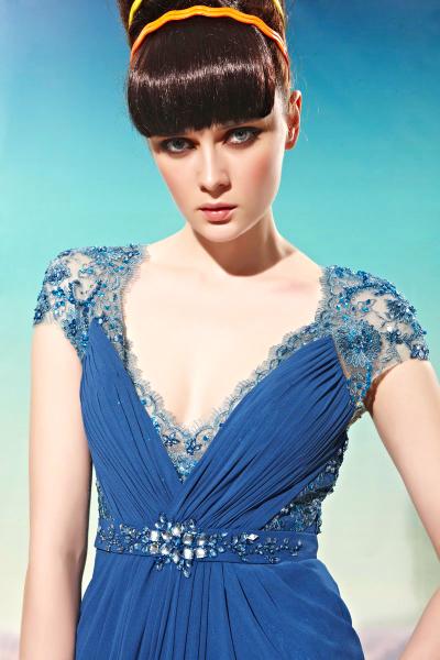 df6c0dede Cod.: 58018 - Vestido de Festa Azul com Manguinhas em Renda ...
